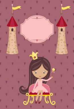 Cute little princess on purple background
