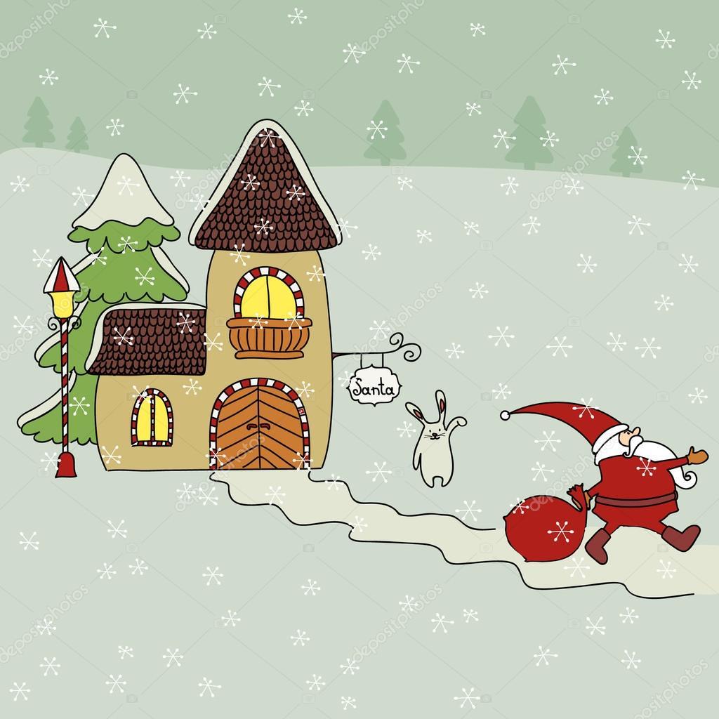 Illustration De Dessin Anime De Santa Et De La Maison Du Pere Noel