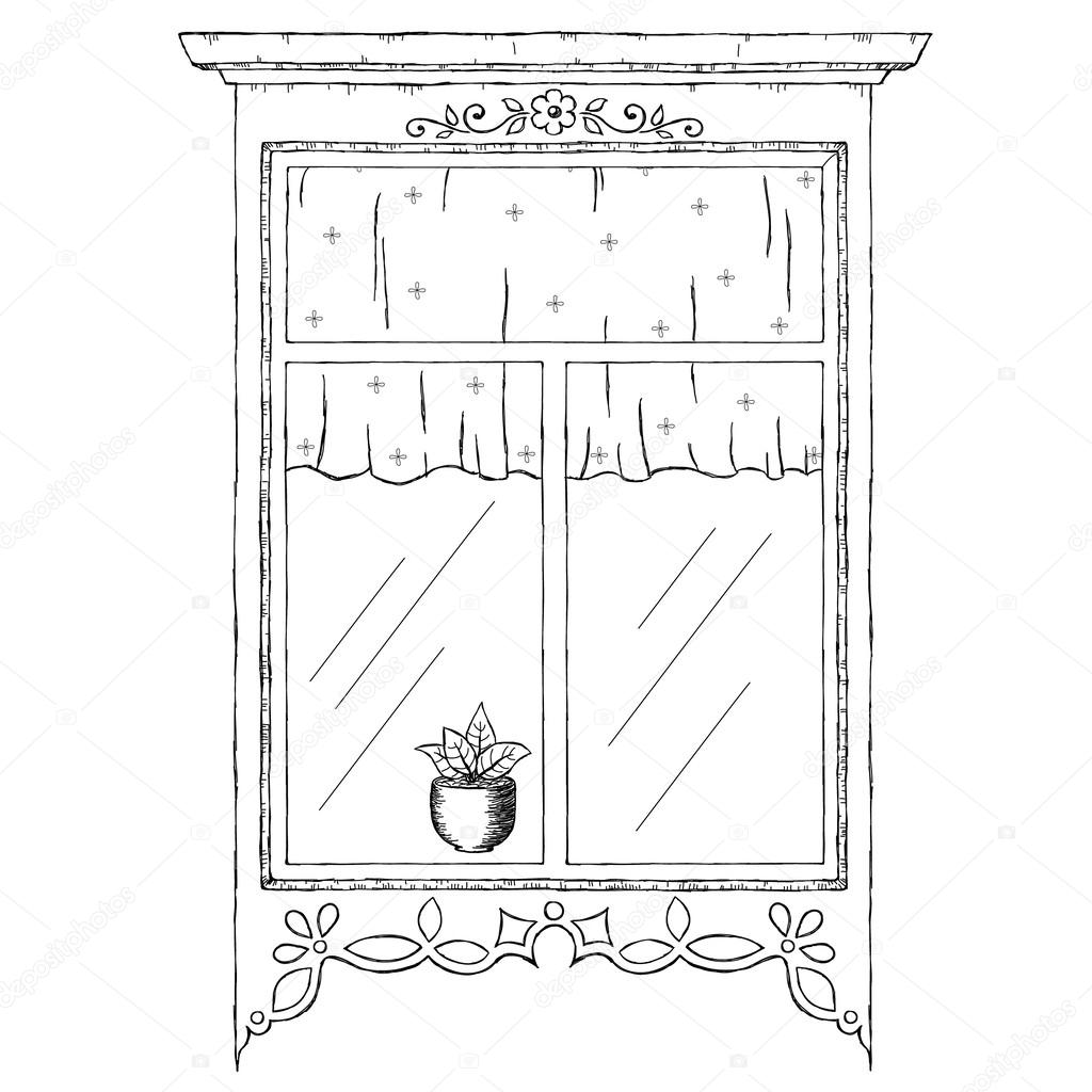 vintage window drawing. hand drawn illustration of vintage window \u2014 vector by natalie-art drawing s