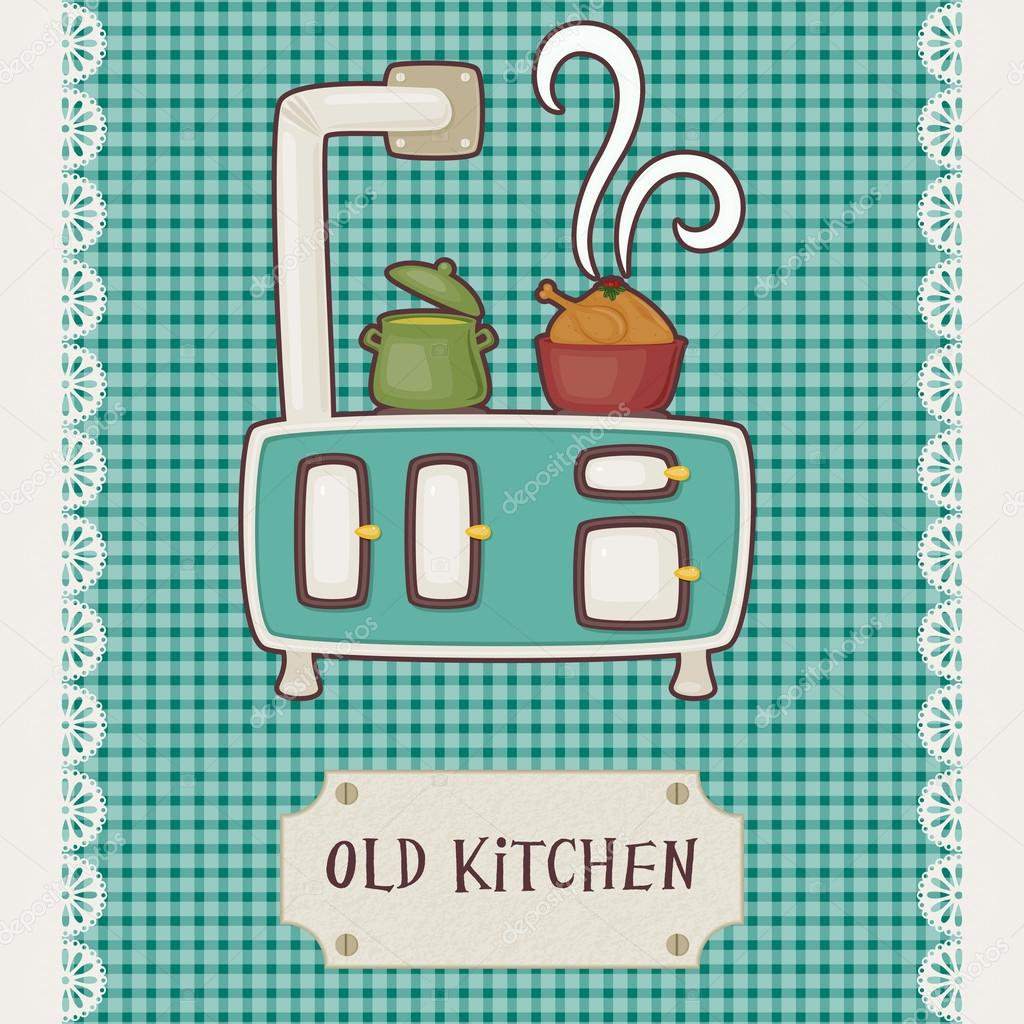 Vintage kitchen stove top — Stock Vector © Natalie-art #35302143