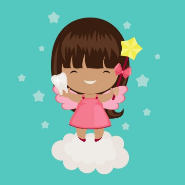 Cute little tooth fairy on a cloud. Holds a tooth and wand