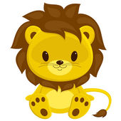 Fotografie Cartoon vector illustration of sitting lion cub. Isolated over w
