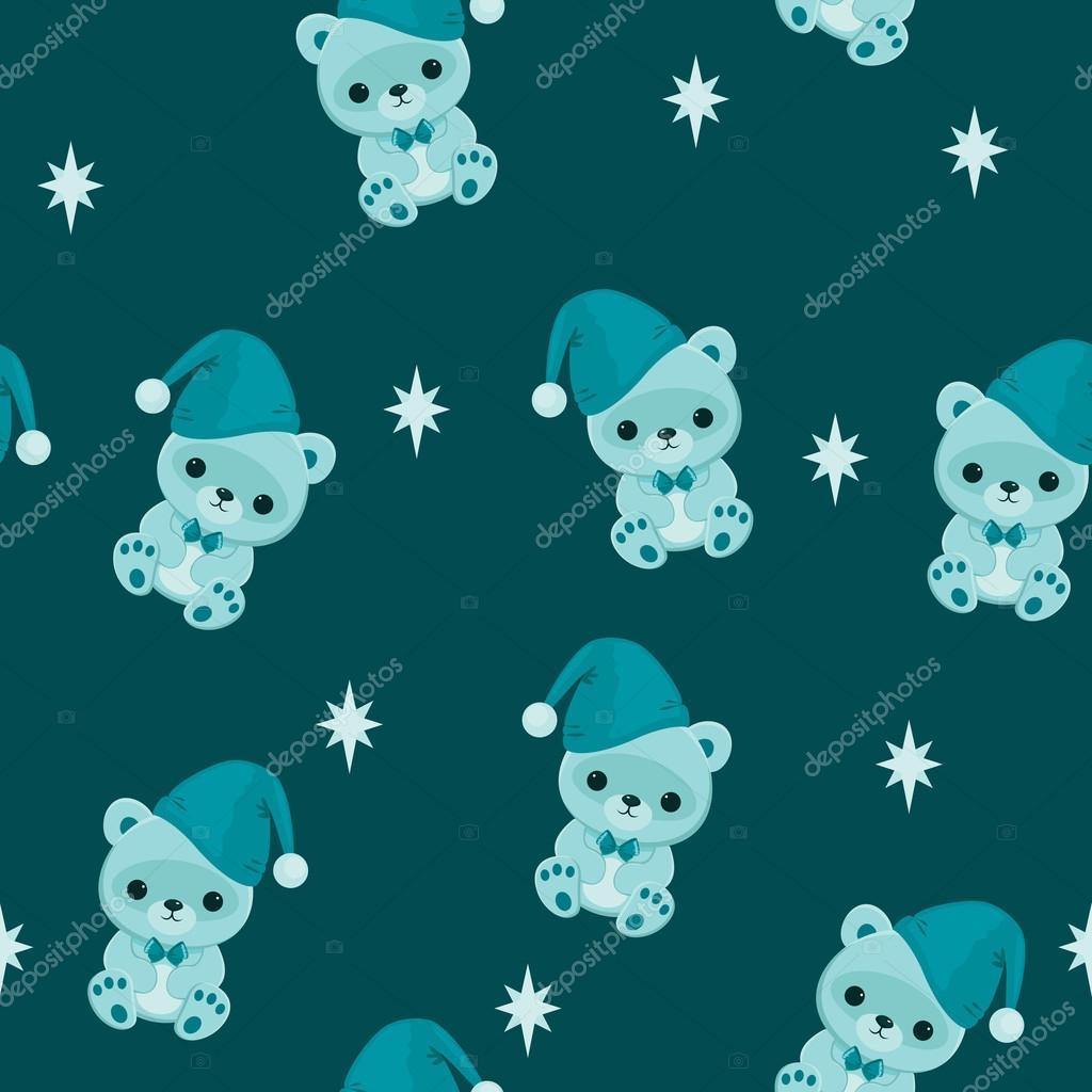 Blue Seamless Wallpaper With Teddy Bear Bed Time Stock Vector
