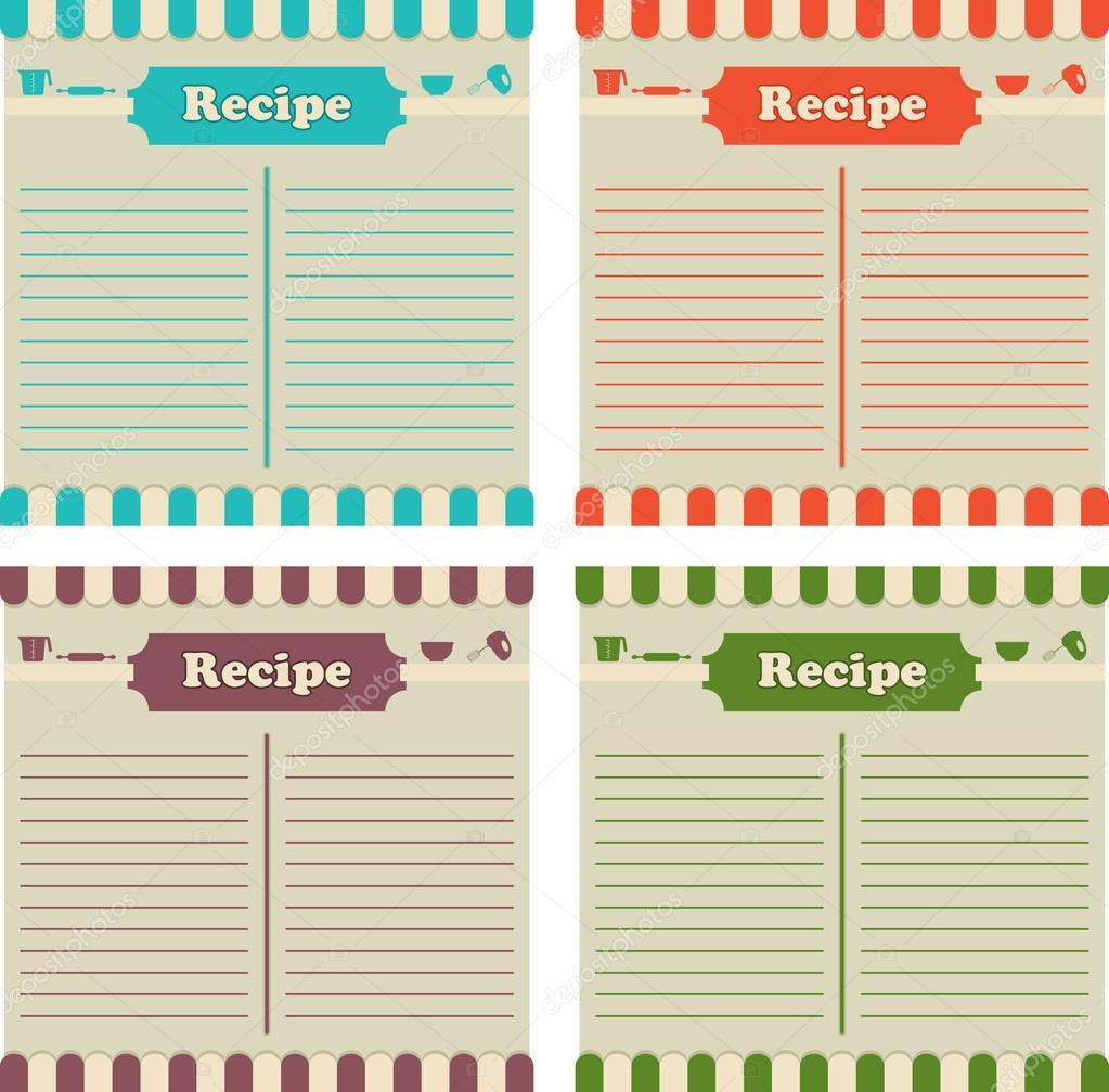 cuatro tarjetas de recetas en diferentes colores. listo para llenar ...