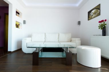 White leather sofa in living room