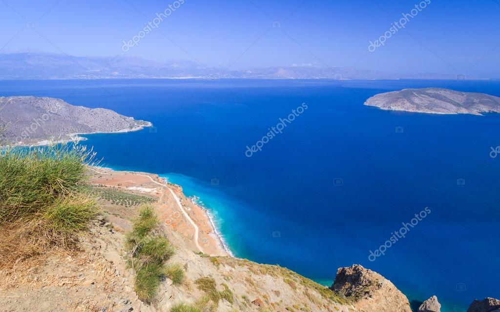 Bay view with blue lagoon on Crete
