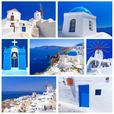 Collage of Santorini island images