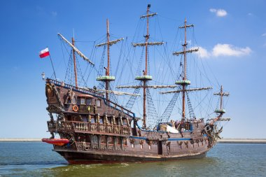 Pirate galleon ship on the water of Baltic Sea