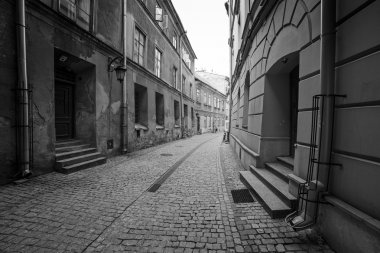 Black and white streets of the old town in Lublin