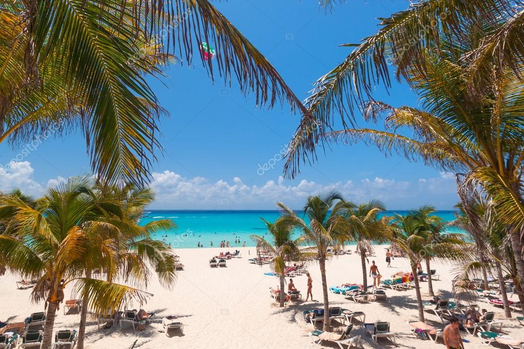Playacar beach at Caribbean Sea in Mexico