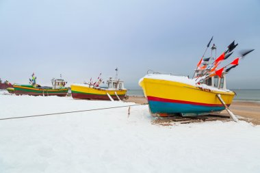 Winter scenery of fishing boats at Baltic Sea