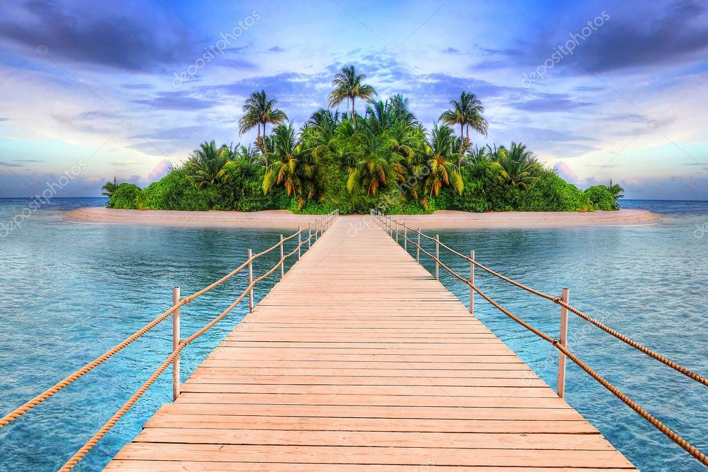 Pier to the tropical island