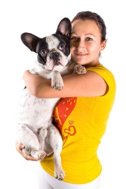Beautiful woman with french bulldog