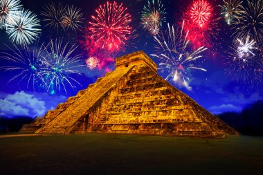 New Years firework display in Chichen Itza