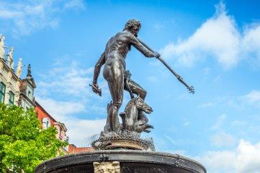 Famous Neptune fountain in Gdansk