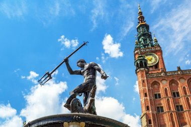 Famous Neptune fountain, the symbol of Gdansk