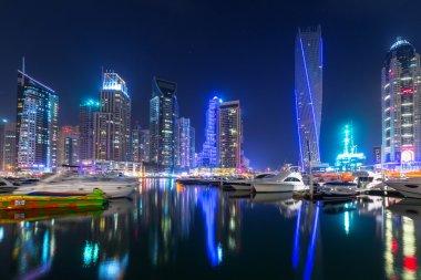 Skyscrapers of Dubai Marina at night, UAE