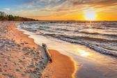 Fotografie Sonnenuntergang am Strand an der Ostsee