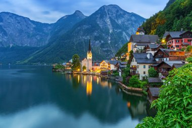 Hallstatt village in Alps at dusk