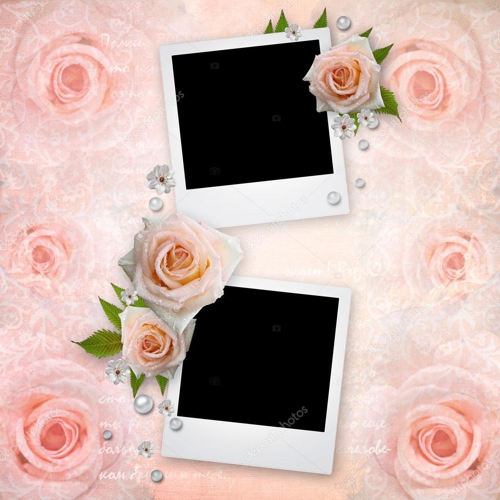 Página de álbum con viejos marcos para fotos, rosas, perlas — Foto ...