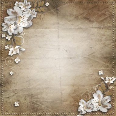 Vintage background with flowers for congratulations an