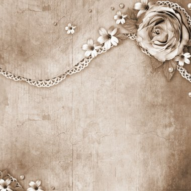 vintage textured background with a bouquet of flowers, lace and