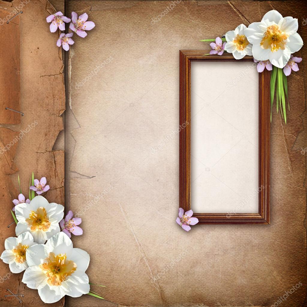 Rahmen für Foto über alte Papier-Album-cover — Stockfoto © o_april ...