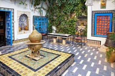 Courtyard at Sidi Bou Said, Tunis, Tunisia