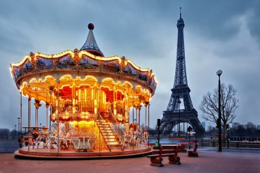 vintage carousel close to Eiffel Tower, Paris