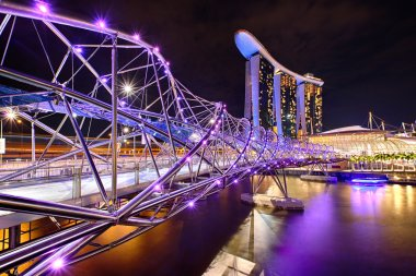 The Helix bridge with Marina Bay Sands in background
