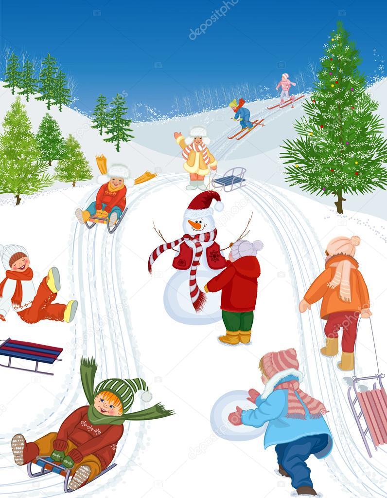 Дети катаются со снежной горы рисунок 6