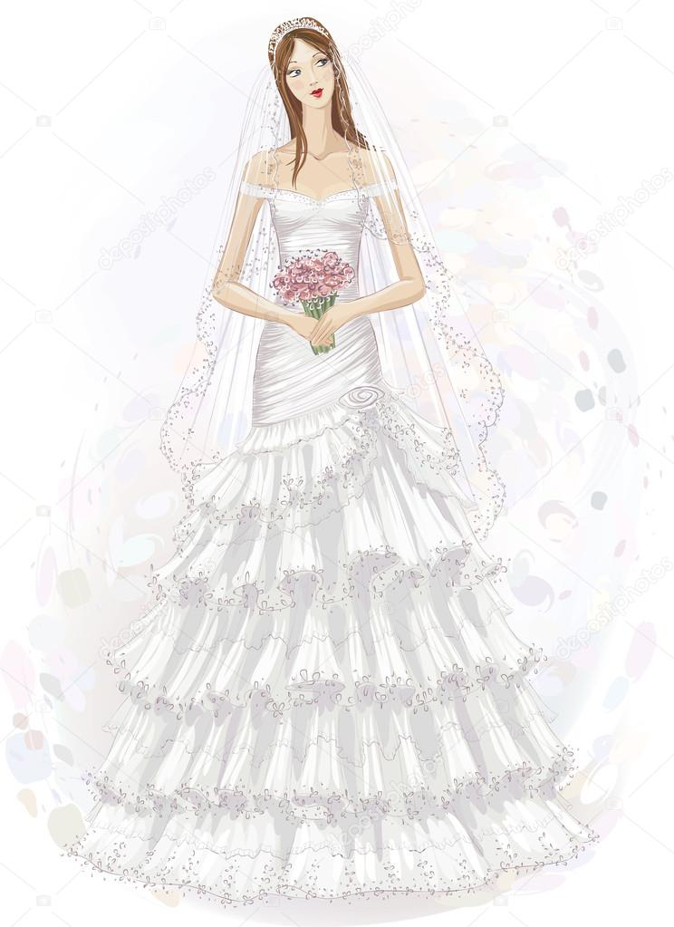 660 Watercolor Wedding Dress Vector Images Free Royalty Free Watercolor Wedding Dress Vectors Depositphotos