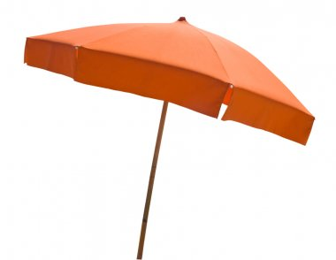 Orange beach umbrella isolated on white