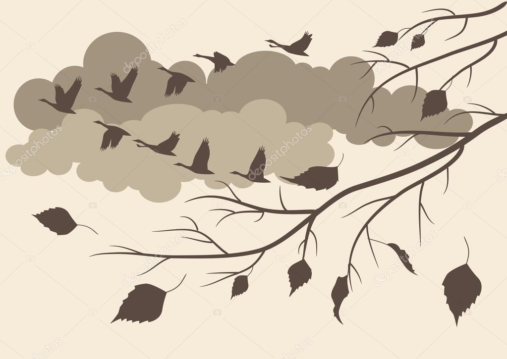 Autumn. birds fly south