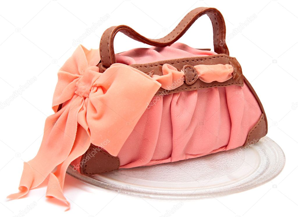 Cake in the form of a female bags marzipan