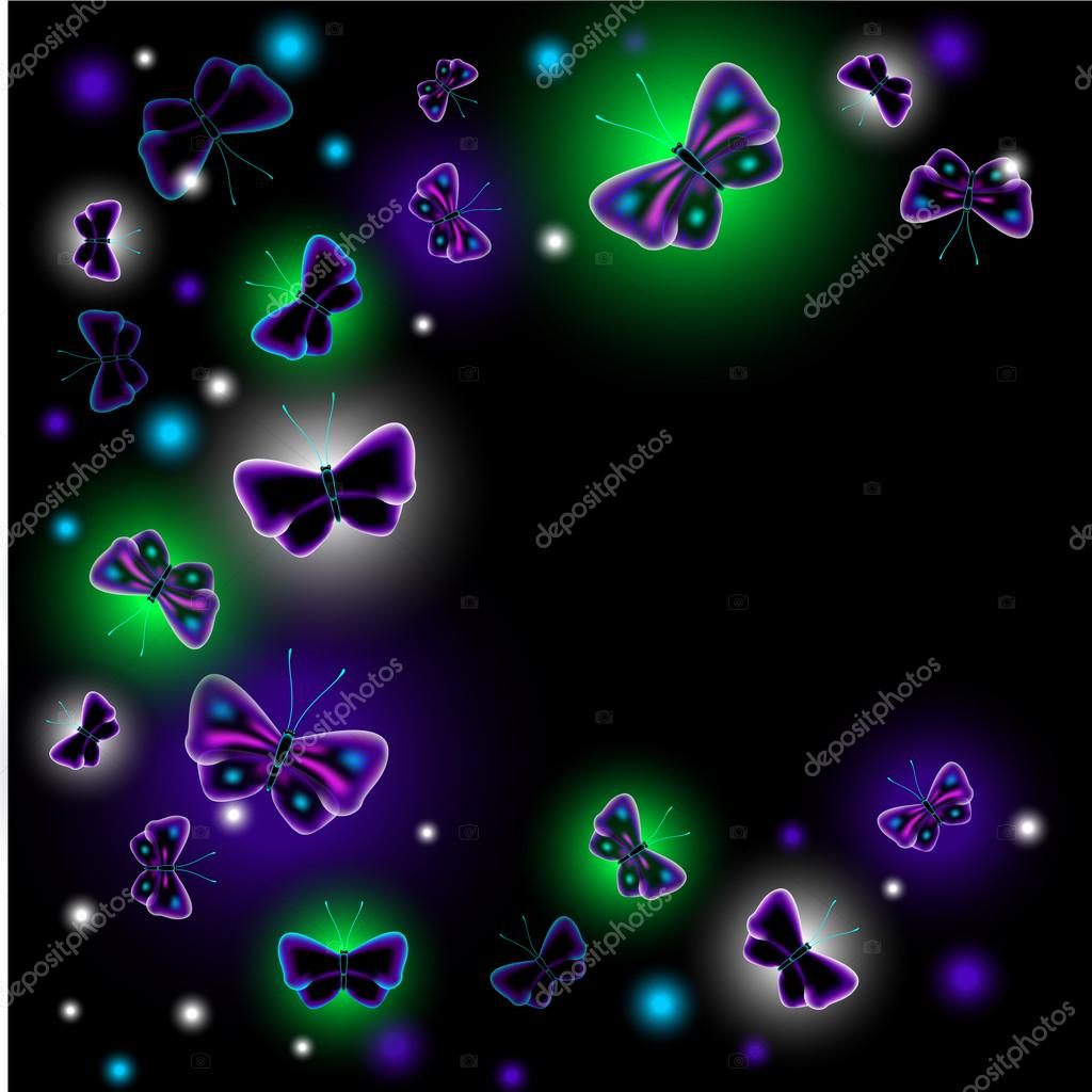 EPS10 vector illustration. Glowing background with Fantastic luminescent butterfly