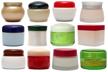 Close up of beauty hygiene container. Set Face care isolated on the white background.