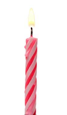 Burning Birthday Candle Cake Isolated On A White Background.