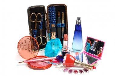 Cosmetics. Various facilities for decorative makeup isolated white background.