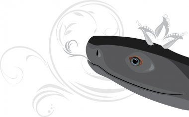 Head of a black snake with diamond crown
