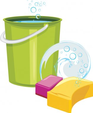 Sponges and bucket with water