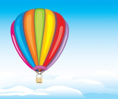Air balloon on the cloudy background