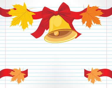 School bell with red bow and maple leaves on the notebook page