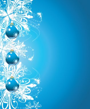 Shining blue Christmas balls on the background with snowflakes