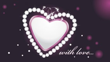 Shining heart with diamonds on the dark background