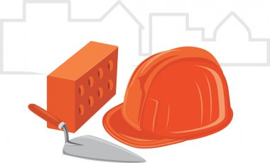 Trowel with brick and safety helmet. Icon for design