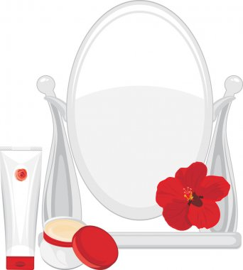Face cream and mirror. The beauty of Your face