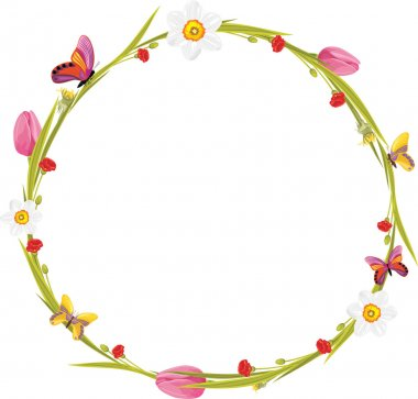 Wreath with butterflies and spring flowers