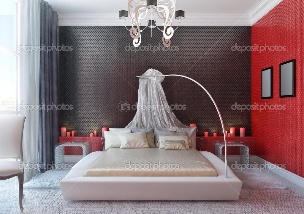 camera da letto con baldacchino — Foto Stock © annamarynenko #12199741