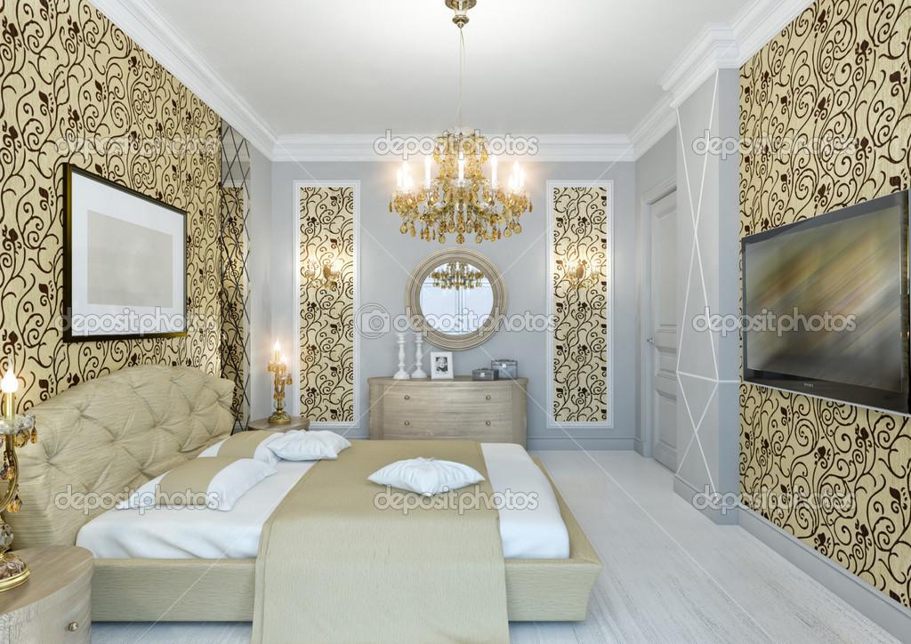 Gouden slaapkamer — Stockfoto © annamarynenko #12202221